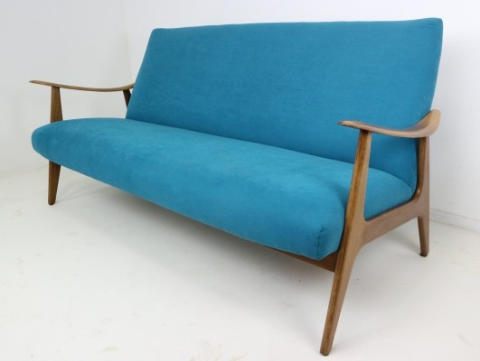 Danish design teak sofa with blue velvet upholstery, 1960s