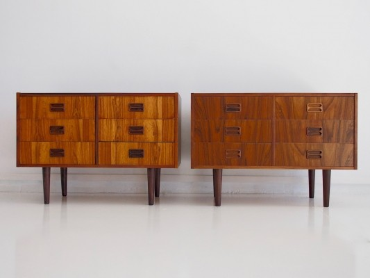 Pair of Danish Modern Rosewood Sideboards with Six Drawers