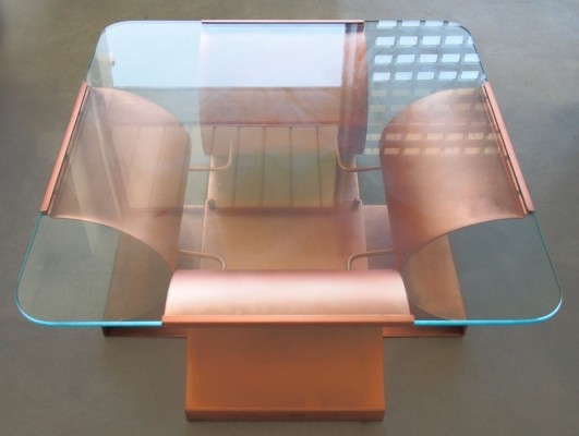 Aged Copper & Glass Coffee Table by Francois Monnet for Kappa, 1970s