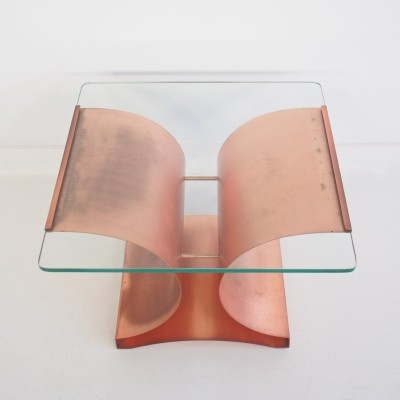 Aged Copper & Glass Coffee or Side Table by Francois Monnet for Kappa, 1970s