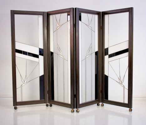 Art Deco Style Wood & Leaded Glass Screen by Poliarte - Birds of Paradise