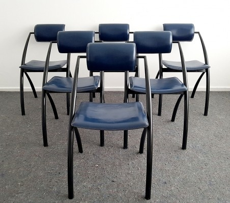 Set of 6 dinner chairs by Giancarlo Vegni for Fasem, 1990s