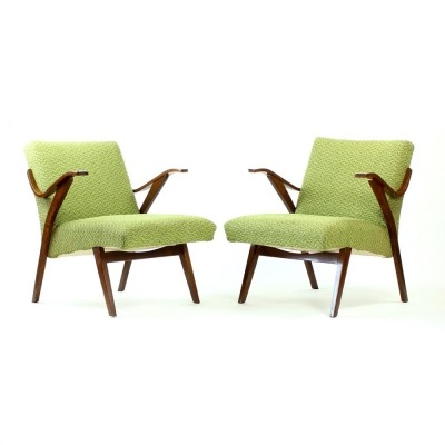 Pair of Mier Topoľčany arm chairs, 1960s