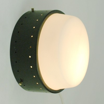 Italian Midcentury Wall- or Ceiling Lamp with Opaline Glass Shade