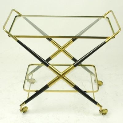 Italian Midcentury Brass Serving Trolley by Cesare Lacca