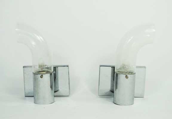 Pair of Pulegoso wall lamps by Aldo Nason for Mazzega, 1970s