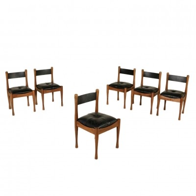 Set of 6 leather & beech dining chairs by Silvio Coppola for Bernini, Italy 1970s
