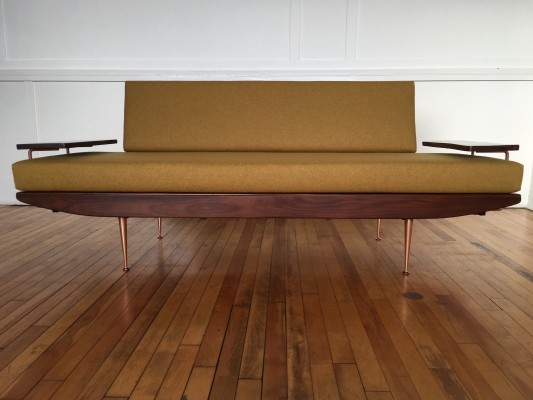 Midcentury British Copper & Afromosia Sofa Bed by Toothill, 1950s
