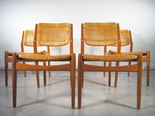Set of 4 Rattan Dining Chairs by Arne Vodder for Sibast, 1950s