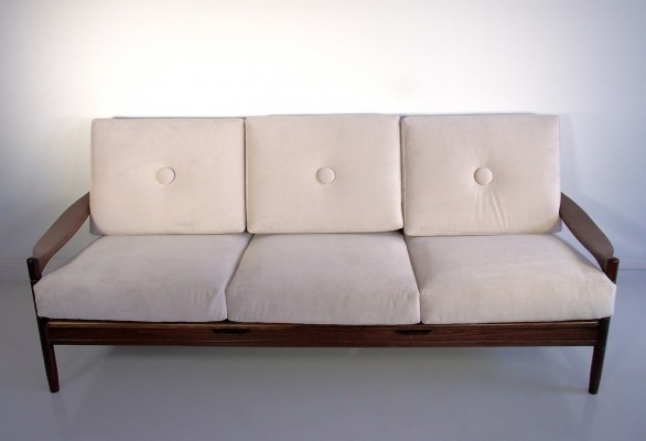 Scandinavian Modern Three-Seater White Sofa with Wooden Frame