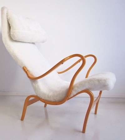 Bruno Mathsson White Faux Fur Pernilla Chair by DUX