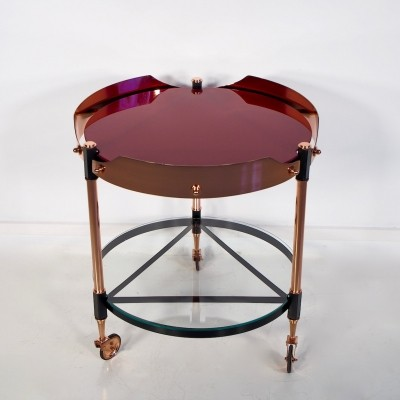 Round Italian Copper, Lacquered Iron & Glass Tray Table