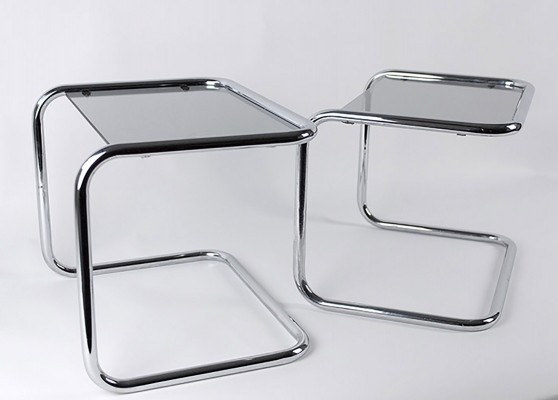 Glass & Chrome Side Tables in Tubular Steel, 1970s