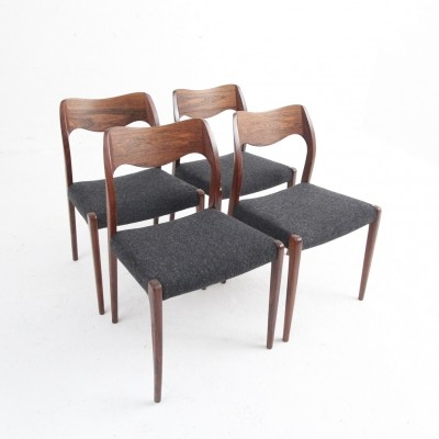 Set of 4 Model 71 dinner chairs by Niels O. Møller for JL Møllers Møbelfabrik, 1950s