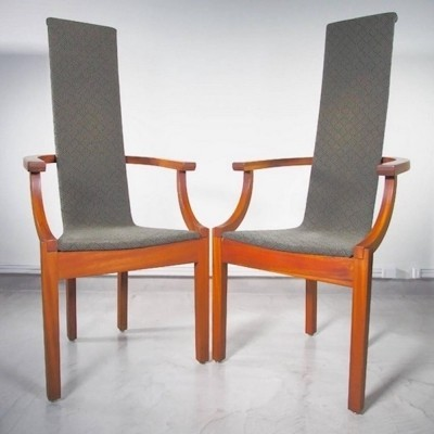 Pair of Leo Johansson Mahogany High Back Armchairs