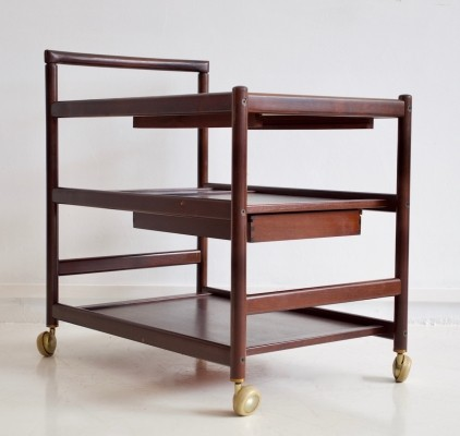 Mahogany Serving Trolley Manufactured by Dyrlund