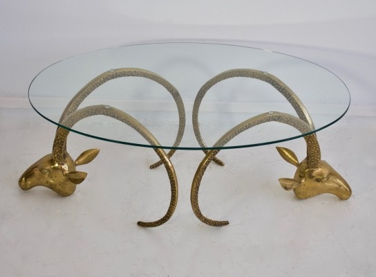 Brass Ibex Coffee Table with Glass Top