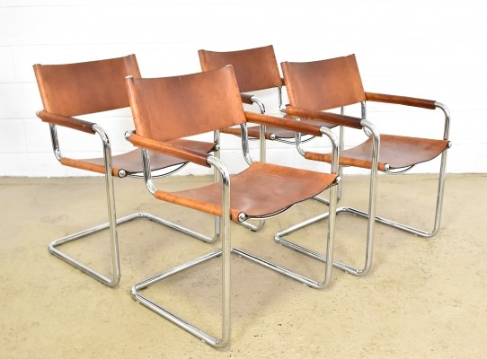 Set of 4 S34 dinner chairs by Mart Stam, 1980s