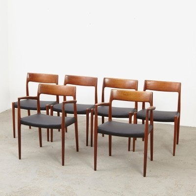 Set of 6 Model 57 & model 77 dinner chairs by Niels Otto Møller for JL Møllers Møbelfabrik, 1960s