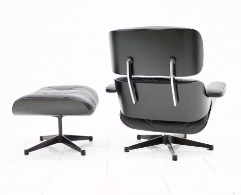 Black Lounge Chair + Ottoman by Charles & Ray Eames for Vitra, 1980s