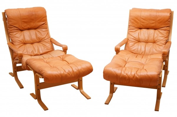 Set of 2 Siesta Easy Chairs with Ottoman by Ingmar Relling