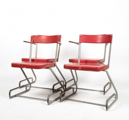Set of 2 chairs & 2 armchairs by Flora Steiger Crawford in lacquered metal & zinc