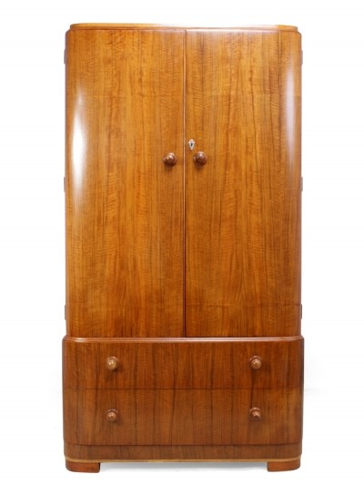 Art Deco Gentlemans Wardrobe in Walnut c1930