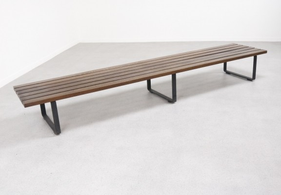 Extra long Wenge slat bench, 1960s