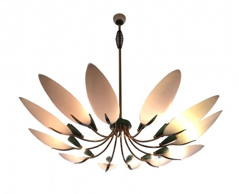 Large 12 Spokes Brass Glass Chandelier, 1950s