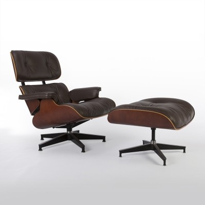 Original Herman Miller Brown Leather And Cherry Eames Lounge Chair & Ottoman