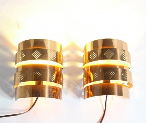 Pair of Danish Copper Sconces by Werner Schou for Coronell Electro