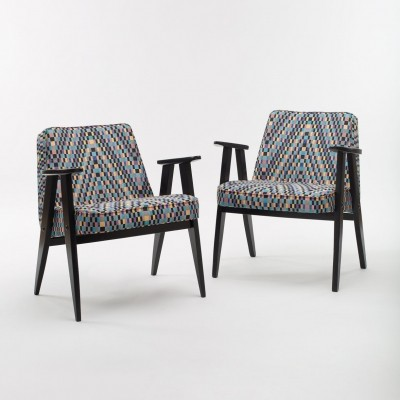 Pair of Jozef Marian Chierowski 'model 366' Armchairs with Black Frame