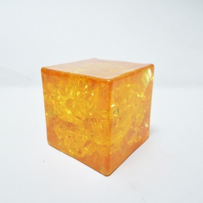 Cube Resine fractale Paperweight by Pierre Giraudon for Atelier Giraudon, 1970s
