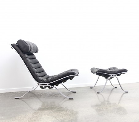Darkgrey leather Ari chair + ottoman by Arne Norell, 1990s