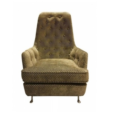 Button-Tufted Armchair with Checked Upholstery & Metal Feet