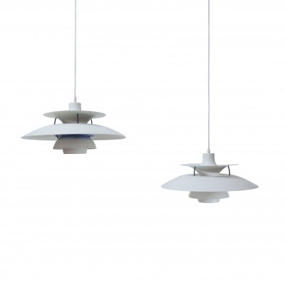 Pair of Poul Henningsen's PH5 ceiling lamps by Louis Poulsen