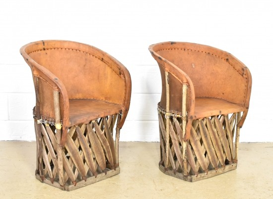 Set of 2 Mexican Equipale chairs from the 1960s