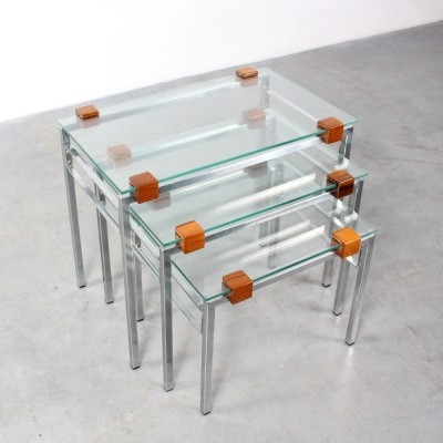 Glass chrome & rosewood set of nesting tables, 1960s