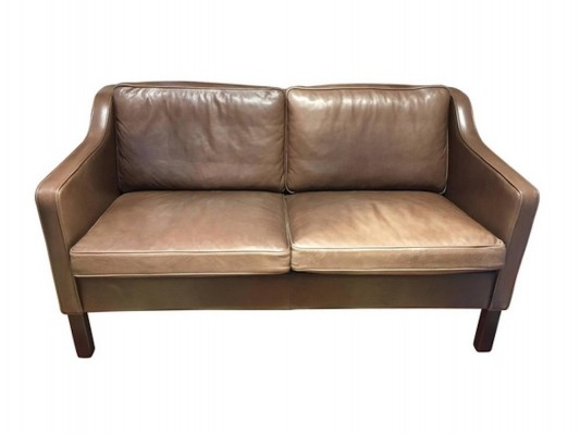 Two-Seater Brown Leather Sofa by Mogens Hansen