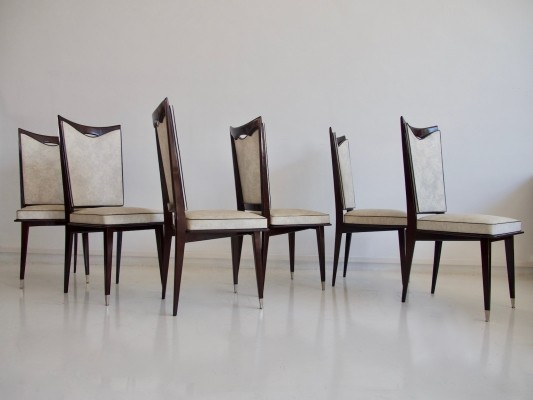 Set of Six French Chairs of Lacquered Oak
