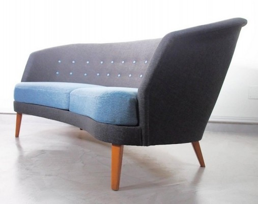Mid-Century Modern Slightly Curved Blue Sofa