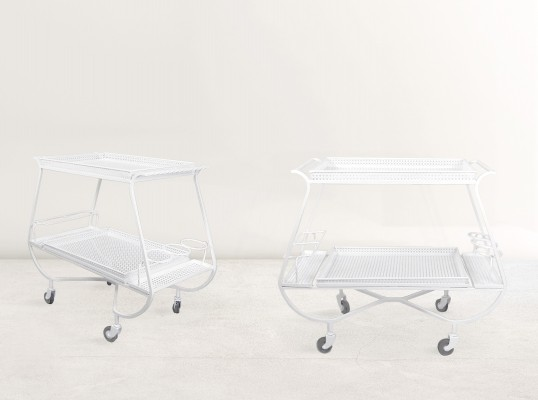Elegantly curved white enameled & perforated metal Mathieu Mategot bar carts, 1950s