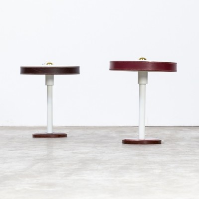 Pair of brown/bordeaux Table lamps in leather & metal by Jacques Adnet, 1960s