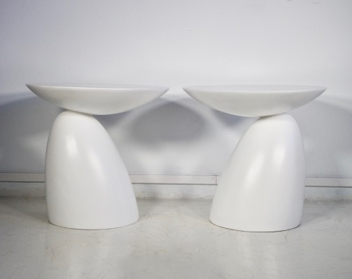 Pair of Round White Fiberglass Side Tables