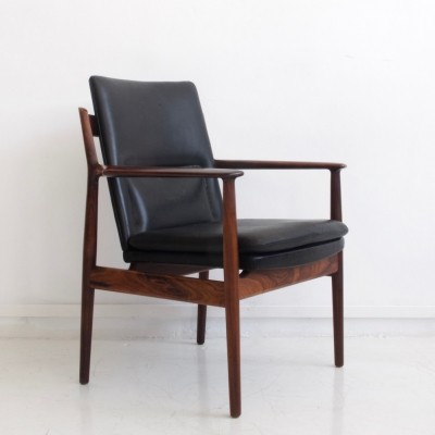 Arne Vodder Black Leather & Rosewood Armchair