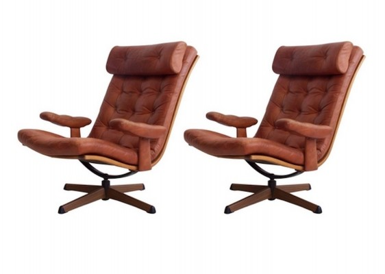 Pair of Brown Leather Easy Chairs by Gote Mobler, 1960s