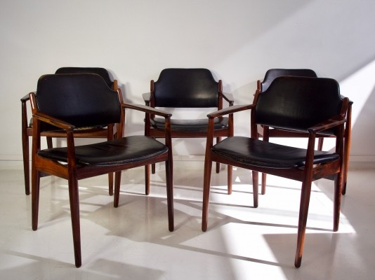 Black Leather Chairs by Arne Vodder for Sibast