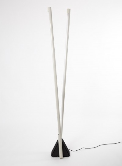 Systema Flu floor & wall lamp by Rodolfo Bonetto with Tl light in two tubes of metal