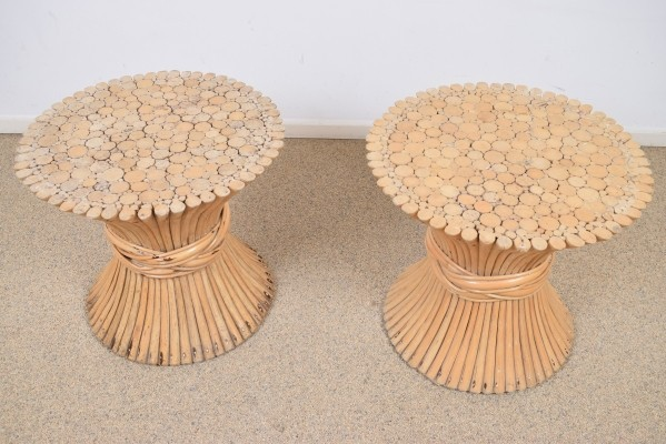 Pair of Wheat Sheaf side tables by McGuire, 1950s