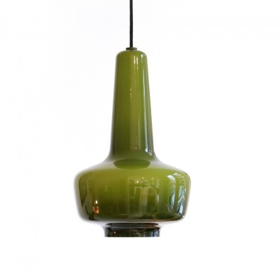 Green glass Kreta lamp by Jacob Bang for Fog & Morup made by Holmegaard